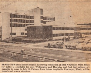 1959, Oregon Journal clipping about the completion of Bess Kaiser Hospital.