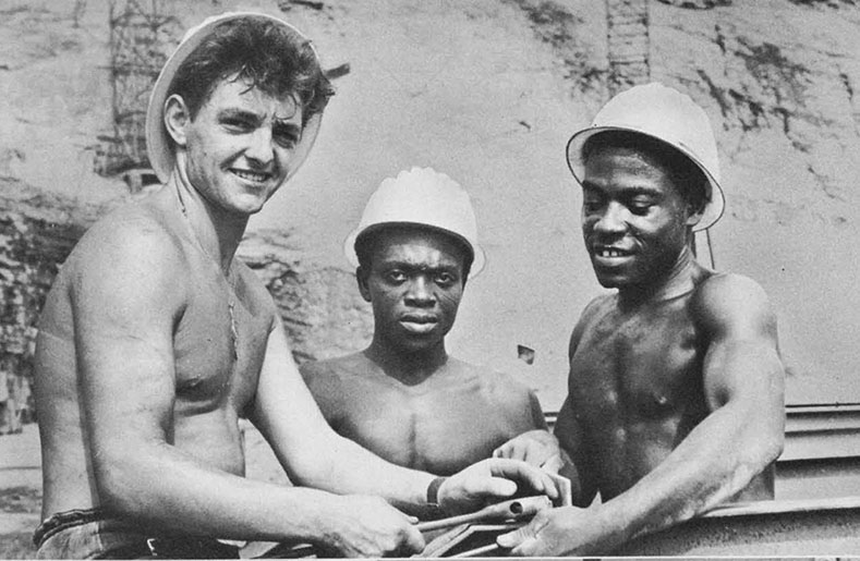 Construction workers at Ghana job site