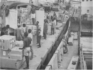 A package disaster hospital as it arrived in Lagos, Nigeria, to be transported by river steamer to Port Harcourt where Kaiser Foundation Inernational restored a war damaged hospital in 1970.
