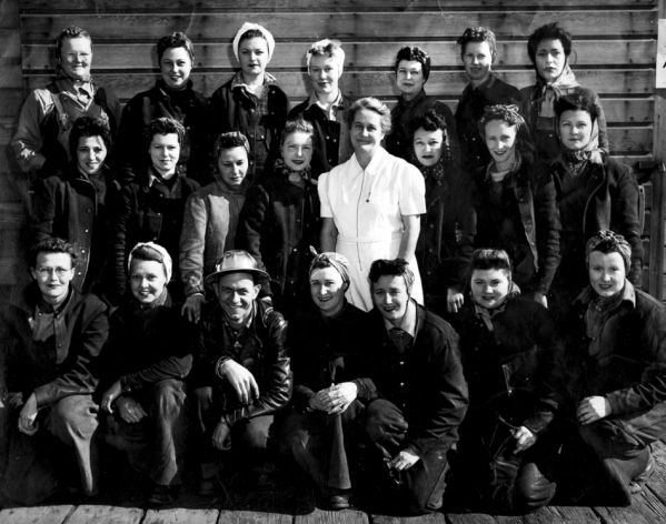 Group of workers, Richmond shipyards, circa 1942-1945. Gift of Terry Meneze, granddaughter of Mamie Allen (middle row, far right); names and locations of subjects written on back.