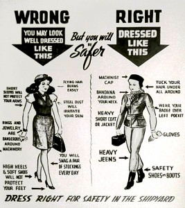 Kaiser wartime shipyard dress code poster depecting right and wrong way to dress for safety.