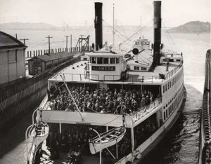 A ferry boat in Alameda crowded with commuters in 1958. Before the bridge was built the ferry was the primary transportation for commuters between San Francisco and Oakland.