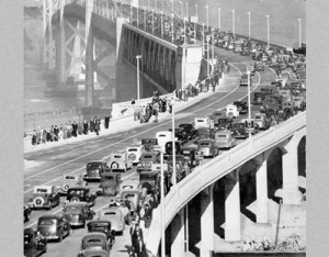 Opening day of the San Francisco-Oakland Bay Bridge, 1936. The San Francisco Chronicle reported that the opening caused 'the greatest traffic jam in the history of San Francisco'.
