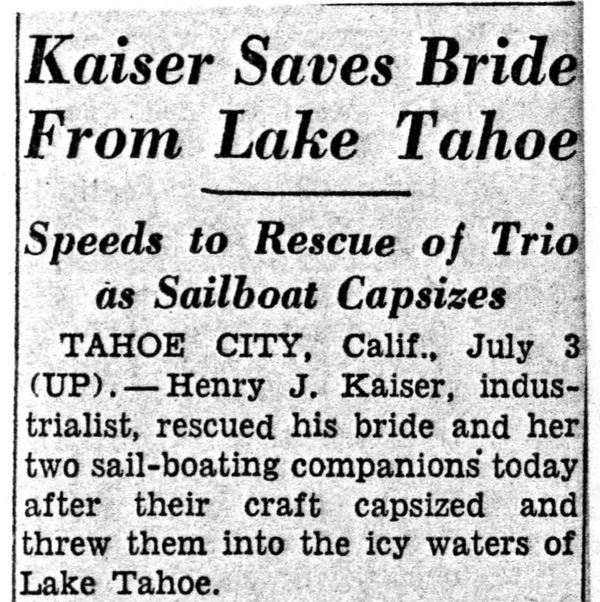 Article on HJK saving Ale, Garfield, and Cutting from capsized sailboat at Tahoe, 1951-07-04; BANC Mss 83-42c-60:8