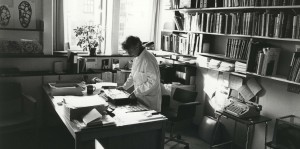 Dr. Peters in her office at the Laboratory of Reproductive Biology in Copenhagen, Denmark, 1979. Photo courtesy of Susan and Tom Peters