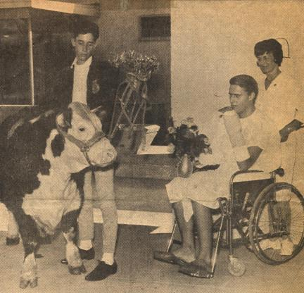 Bull and friend visiting patient at Fontana Hospital