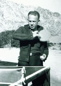 Raymond Kay, MD, friend of Garfield and early leader of the Southern California Permanente Medical Group, playing ping pong on the hospital site.