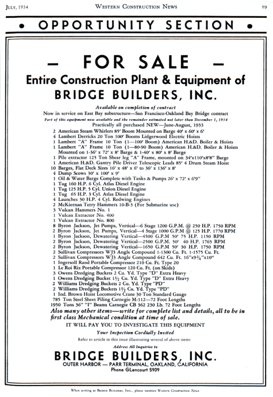 Advertisement for sale of surplus Bay Bridge construction equipment from 1934.