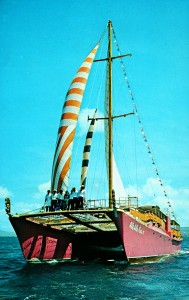 Henry J. Kaiser's Catamaran Ale Kai V postcard, 1967. Lisa Killen discrete collection