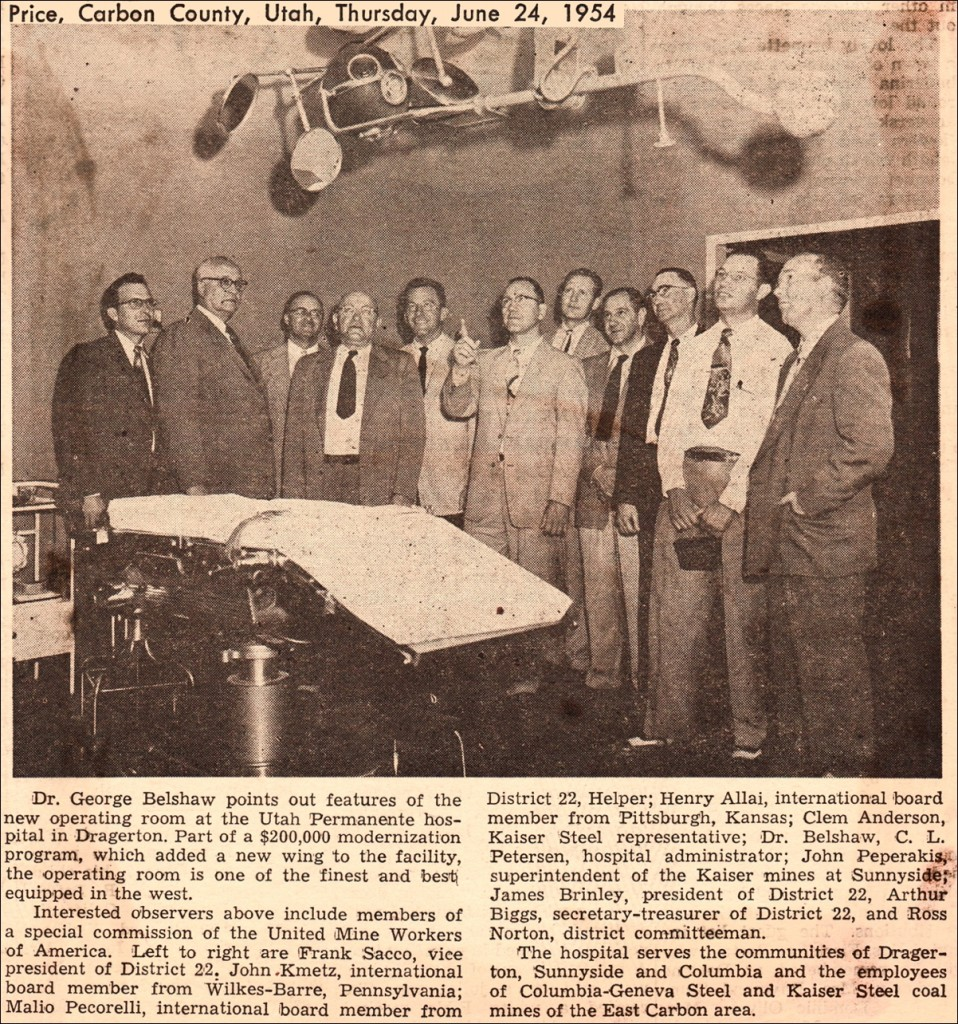 newspaper clipping with photo of a group of people standing inside a hospital room