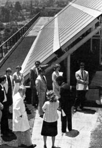 Congressman Norman Mineta, Santa Clara Mayor William Gissler and others dedicated Santa Clara Medical Centers solar panel project, July 17, 1980.