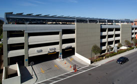 parking garage with solar panels