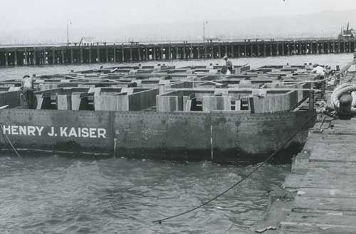 Henry J. Kaiser caisson barge, circa 1933. Photo courtesy Caltrans archive.