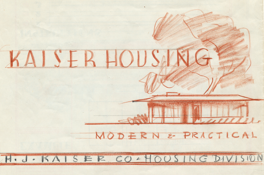 Architects' rendering of Kaiser Housing development in 1948. Bancroft Library photo