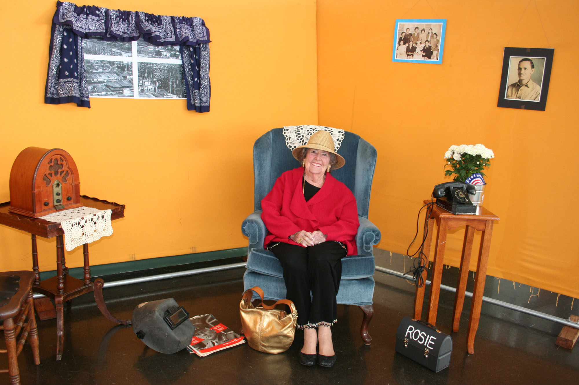 "Bobbie Kaiser, widow of Henry J. Kaiser, Jr., in ""Rosie's Corner"" at 2010 Home Front Festival in Richmond, Calif."