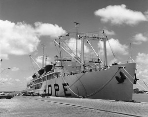 The SS Hope, a U.S. Navy hospital ship