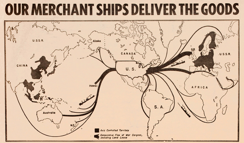 U.S. cargo routes, World War II; from Fore 'n' Aft, 5/26/1944.