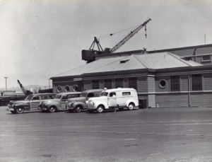 Ambulances at Kaiser Richmond shipyard first-aid station, circa 1944.