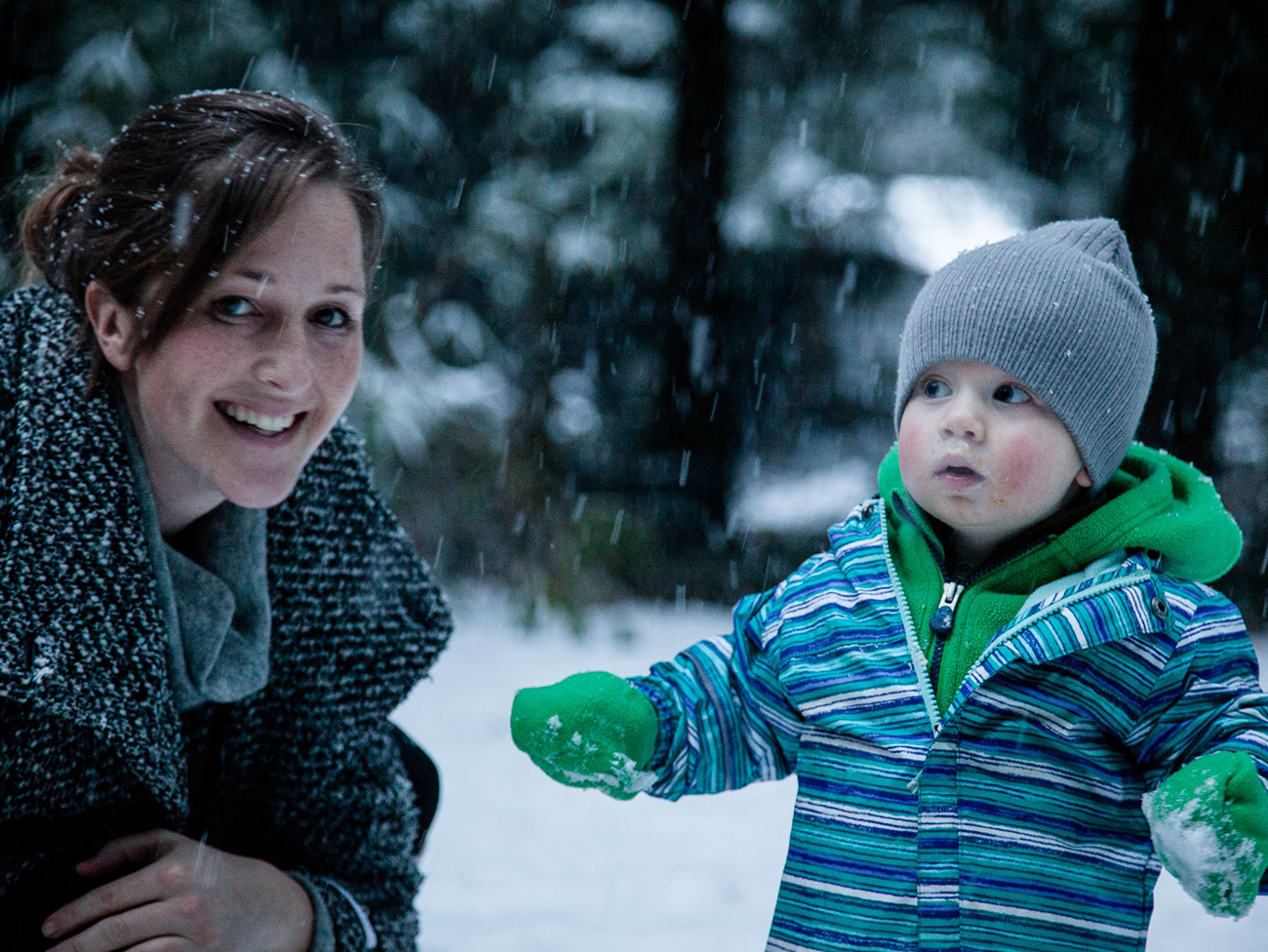 Cara Lewis with her son River at her parents' home on Vancouver Island, BC, Canada.