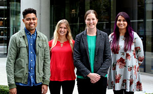 Kayne Mettert, Caitlin Dorsey, Lewis, and Elena Navarro (L-R) all moved together to work at the Kaiser Permanente Health Research Institute in Seattle from Indiana University in Bloomington.