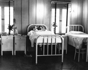 Worker-patient at Contractors General Hospital, under the care of Dr. Sidney Garfield, circa 1934.