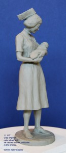 Model of the Kaiser Foundation School of Nursing commemorative clay sculpture.