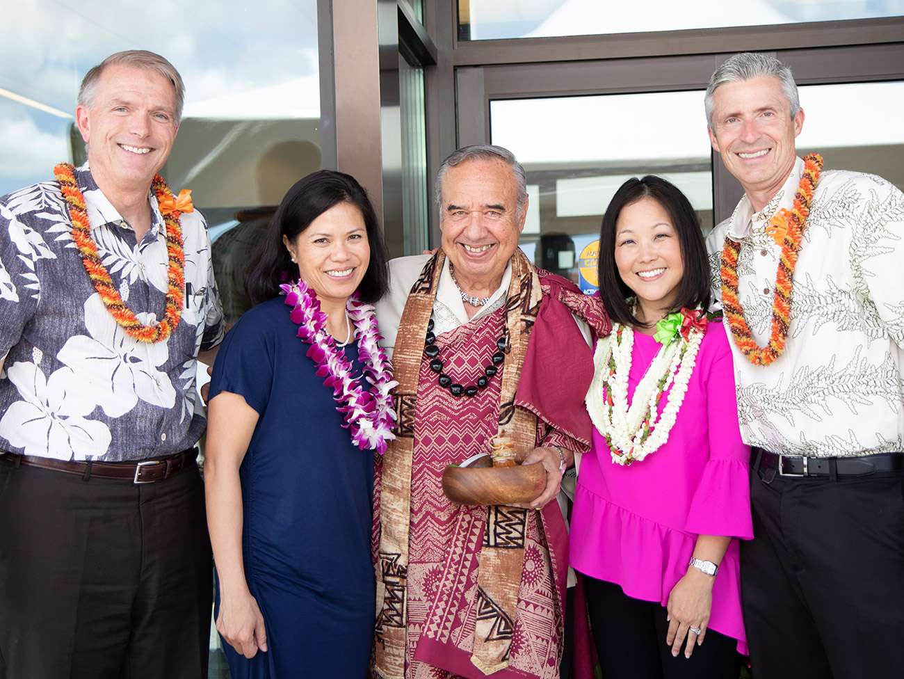 From left: Dave Underriner; Janet Myers, MD; Kahu Wendell Silva; Shanon Makekau, MD; Geoffrey Sewell, MD.