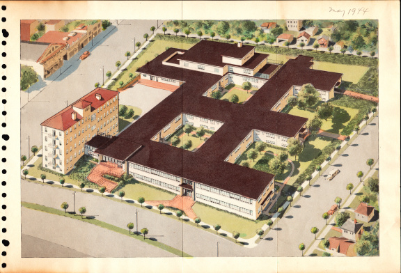 The Permanente Foundation Hospital, Oakland, California; ring-bound copies of architectural drawings, 1944