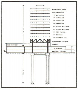 Engineering diagram of tower pilings, 1969