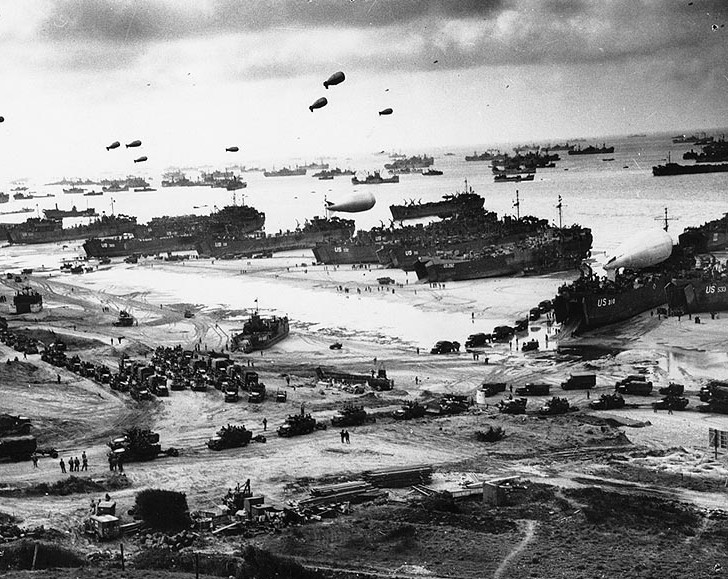 The scene on one of the five Normandy beaches following the Allied Forces D-Day