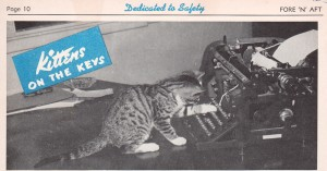 black and white magazine clipping of a small cat with one paw on a typewriter key