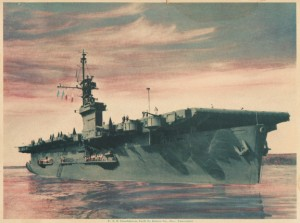 USS Casablanca, built by Kaiser. Colorized litho print from 1943.