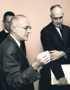 1966 image of Dr. Morris Collen with Surgeon General William Stewart, M.D
