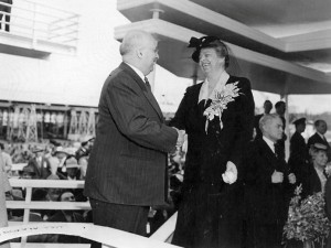 Henry J. Kaiser and First Lady Eleanor Roosevelt at launching of the U.S.S. Casablanca (Alazon Bay), April 5, 1943. .