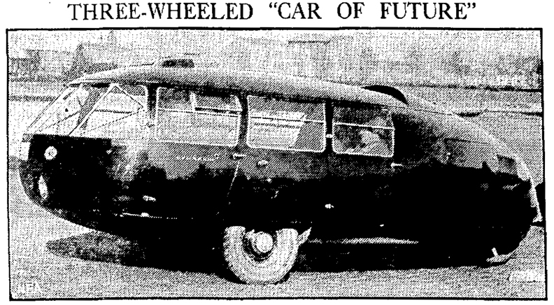 "Black and white newspaper photo of the Dymaxion car with headline that reads: Three-wheeled ""car of future"""
