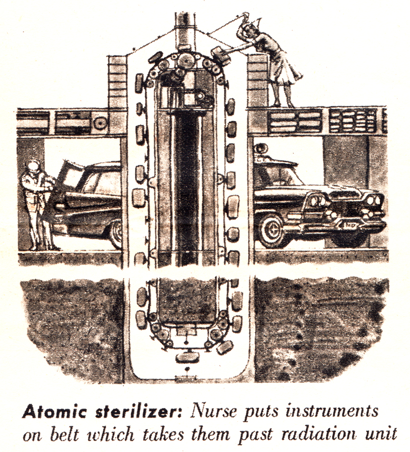 "Atomic sterilizer detail, ""The Hospital of Tomorrow,"" This Week magazine, 1/17/1960."