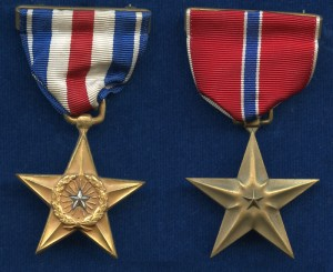 US Navy silver and bronze stars awarded to D.R. Robinson for service in WWII
