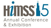 Logo for the 2015 HIMSS conference. The 1 in 15 is a silhouette of the Sears Tower.