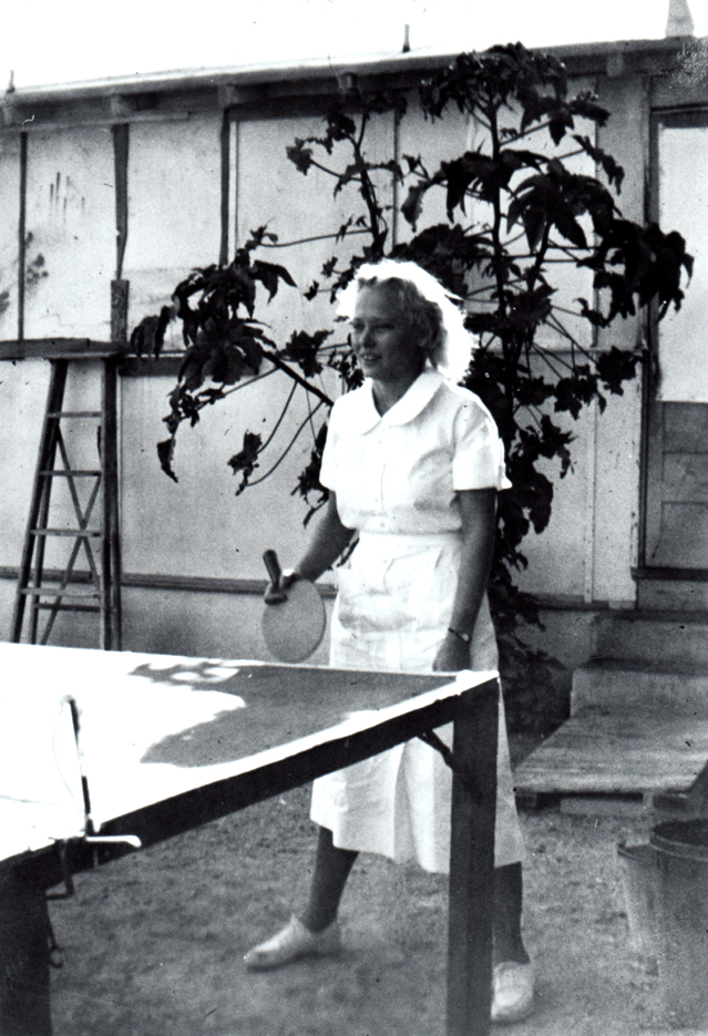 Betty Runyen playing table tennis at Contractors General Hospital, circa 1936; BR4-12