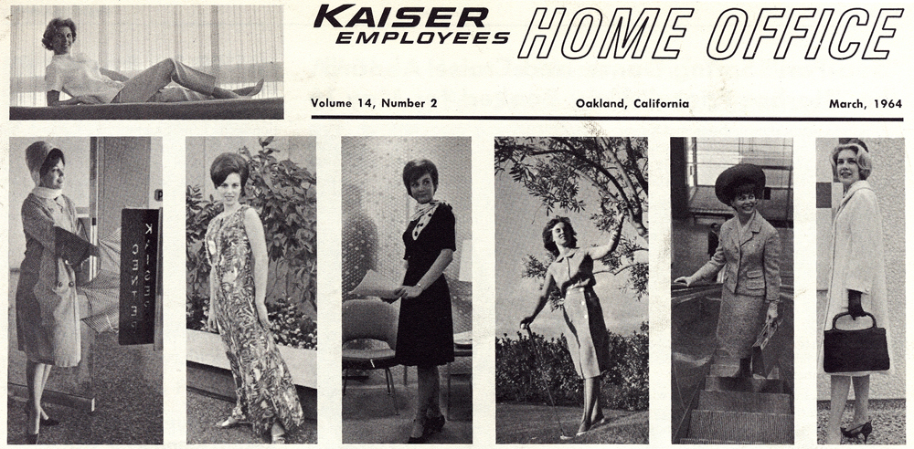 1964 magazine cover of 'Kaiser Employees Home Office' magazine with images of fashionable women of the time.