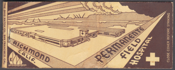 vintage matchbook that promotes the Richmond Field Hospital
