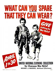 1945 UN clothing collection campaign poster - 'What can you spare that they can wear?'