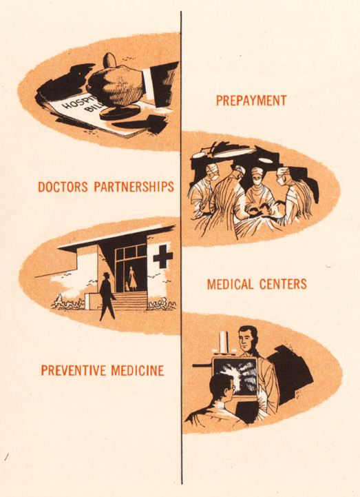 "Graphic of ""A New Economy of Medicine,"" from Kaiser Foundation Medical Centers booklet, 1953-06"