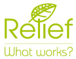 Logo for the relief study. It's the word Relief in a leaf green with a pretty line drawing of a leaf over the word. Underneath it are the words, what works?