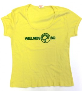 Yellow women's t-shirt with the text 'wellness 80'