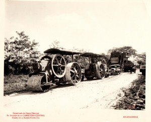 1927 photo of a steamroller at work during the Cuban Central Highway construction
