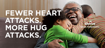 billboard from 2015 thrive campaign, kids hugging grandfather