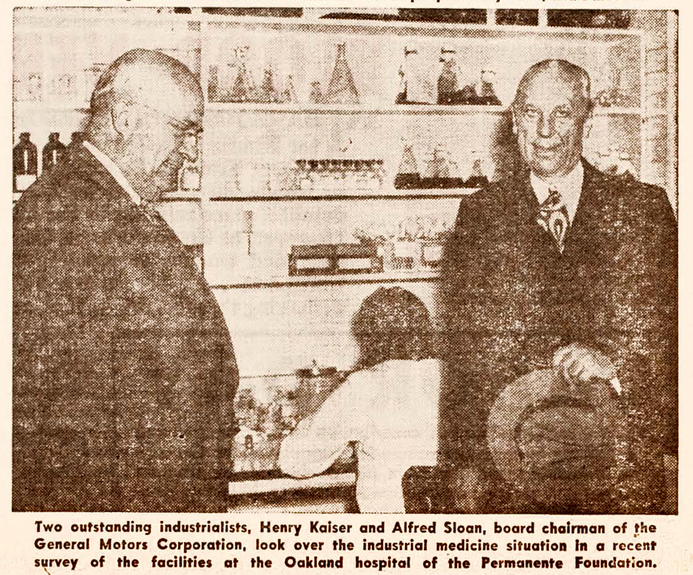 Black and white newspaper clipping of Henry J. Kaiser and  Alfred Sloan