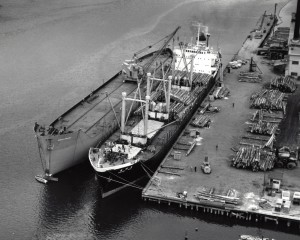 Black and white photo of a whirley crane on Liberty ship hull, circa 1965.