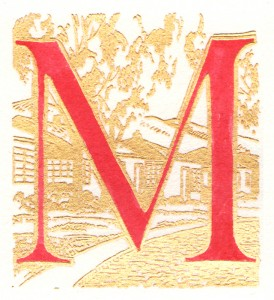 Red letter 'M' with a beige illustration of a home in the background.